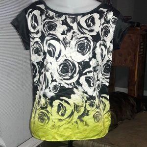 Women's sz S ANA summer rose top, blk.back